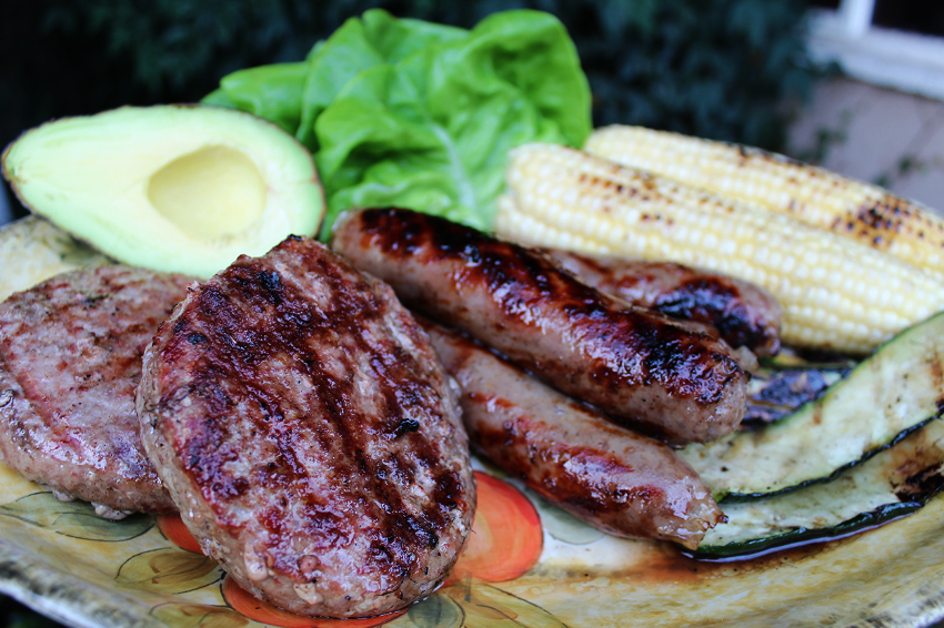 1/2 Lb. patties and 1/4 lb. brat links grilled up to perfection with our favorite veggies.
