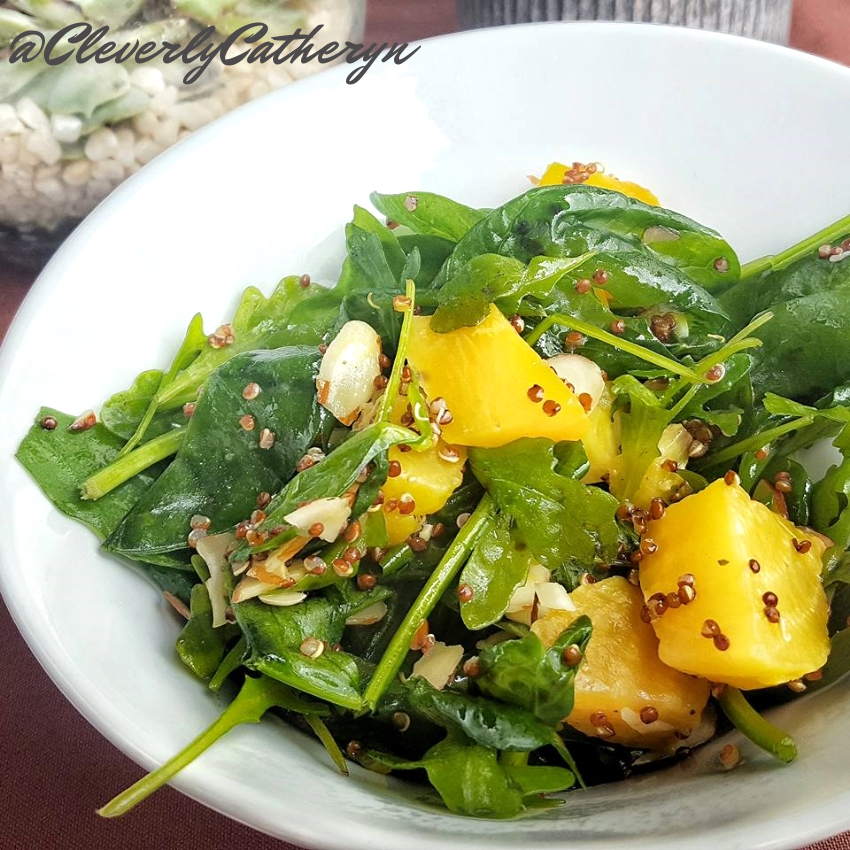 The star of this salad, those marinated yellow beets! Tossed with spinach, quinoa and almond slivers, the forks were flying.