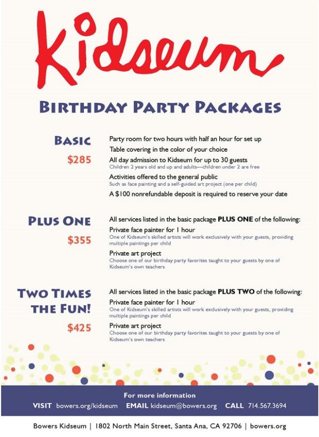 Bowers kidseum Birthday Parties
