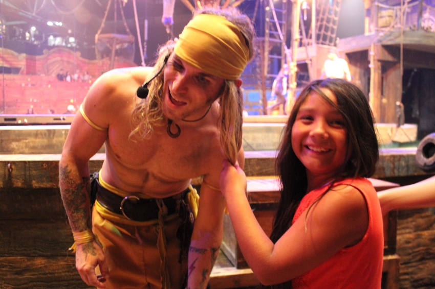 Haha, such a trooper and that smile says it all, she loved Pirates Dinner Adventure.