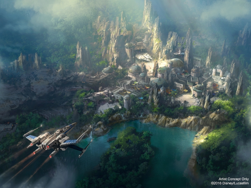 Latest released Star Wars Rendering showing the Falcon and market place as well as the Rivers of America tie in.