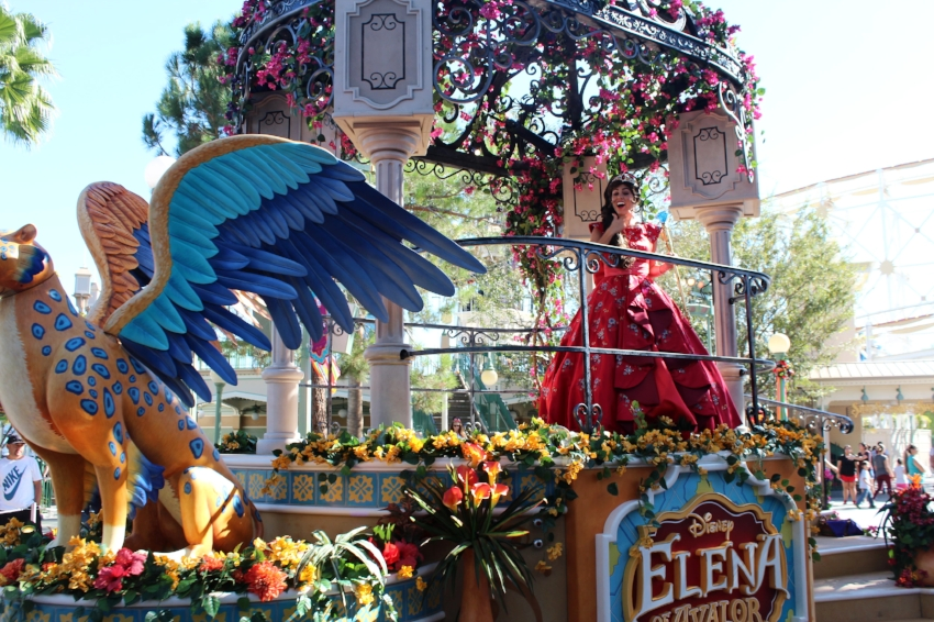 Princess Elena's Musical Grand Arrival directly in front of the gateway to Viva Navidad at Paradise Garden in California Adventure.