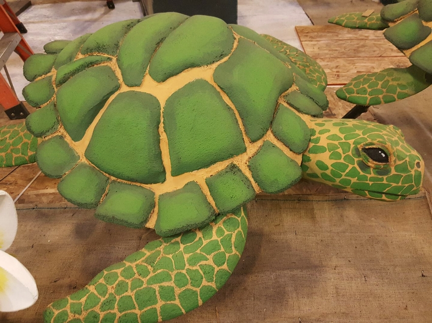 One of the sea turtles on the Dole Foods Float, ready for the finishing touches.
