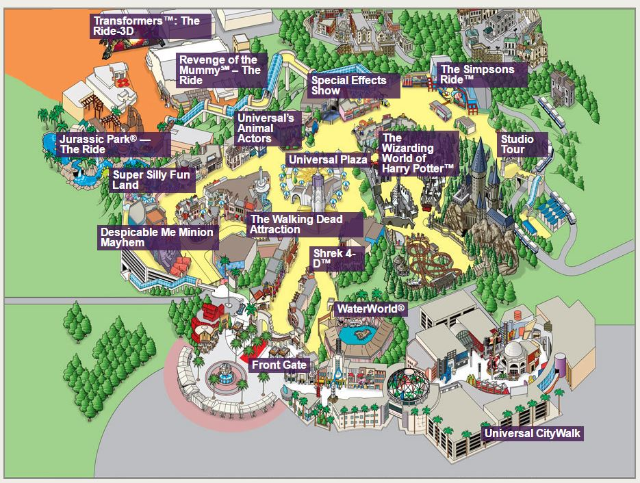 Universal Studios Map Highlighting the Larger Attractions (Guest Services to the right of the front gate)