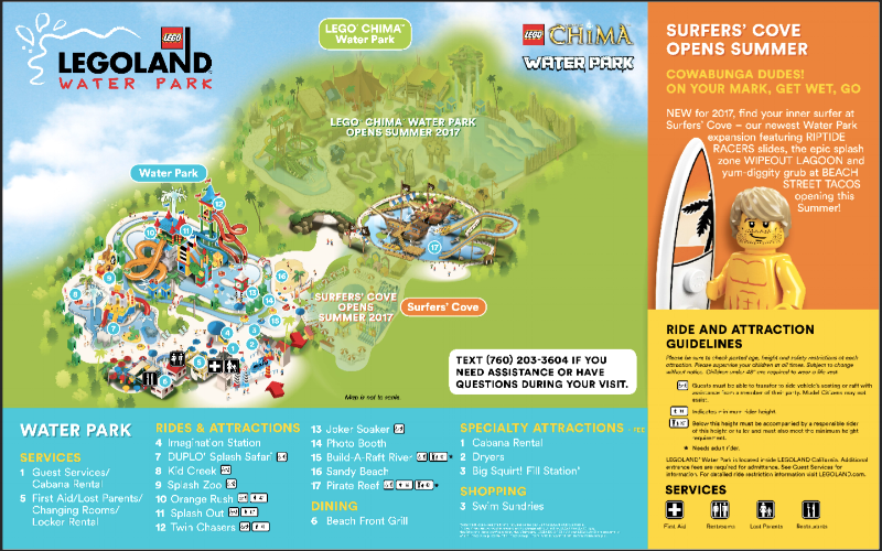 Legoland California map showing new Surfers Cove area and the soon to reopen China Water Park.