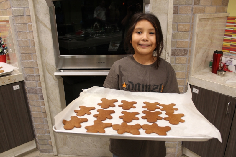 Finished cookies, can I have one mom?