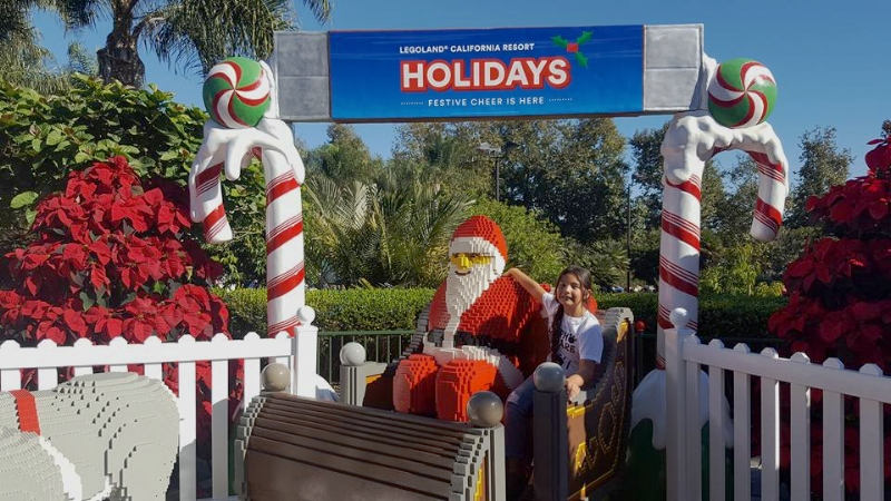 Lego Santa and his Reindeer at Legoland, perfect spot for a picture!