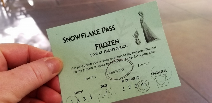 Snowflake Pass at DCA for Frozen Live at the Hyperion (c) Cleverly Catheryn