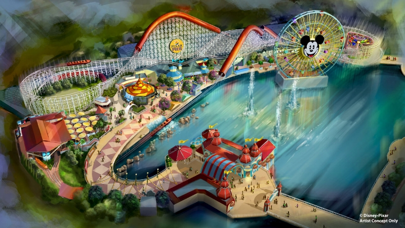 Artist rendering of the newly themed Pixar Pier at Disney's California Adventure (Disney Parks Blog)