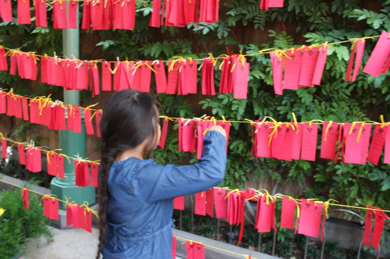 Making a wish on the Lucky Wish Wall