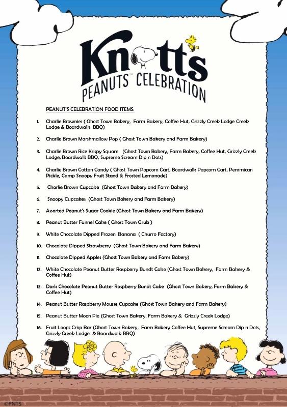 Knott's Peanuts Celebration Food Items