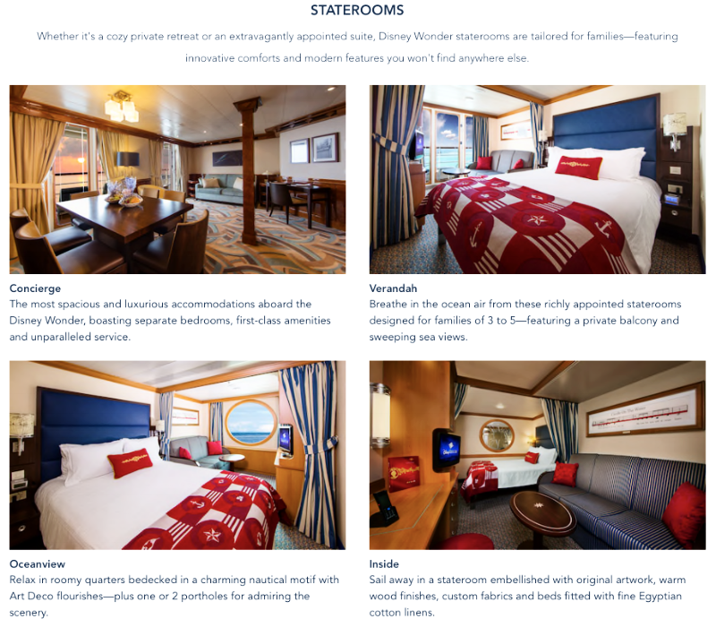 Disney Cruise Line Disney Wonder Room options