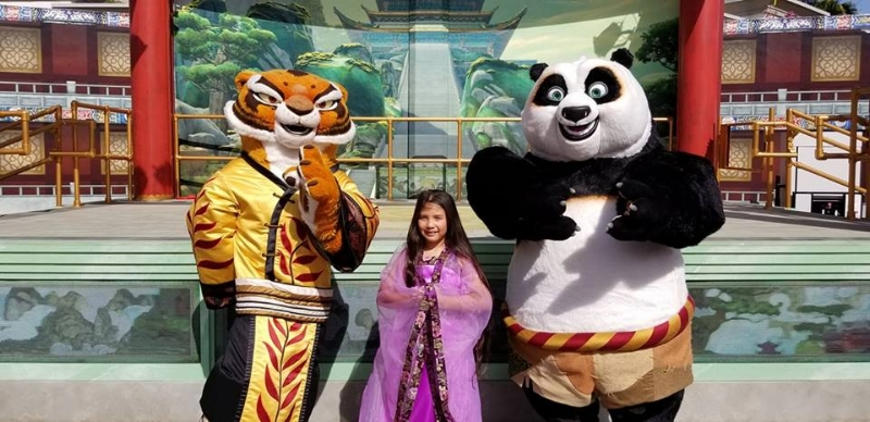 Po and Tigress during Lunar New Year at Universal Hollywood