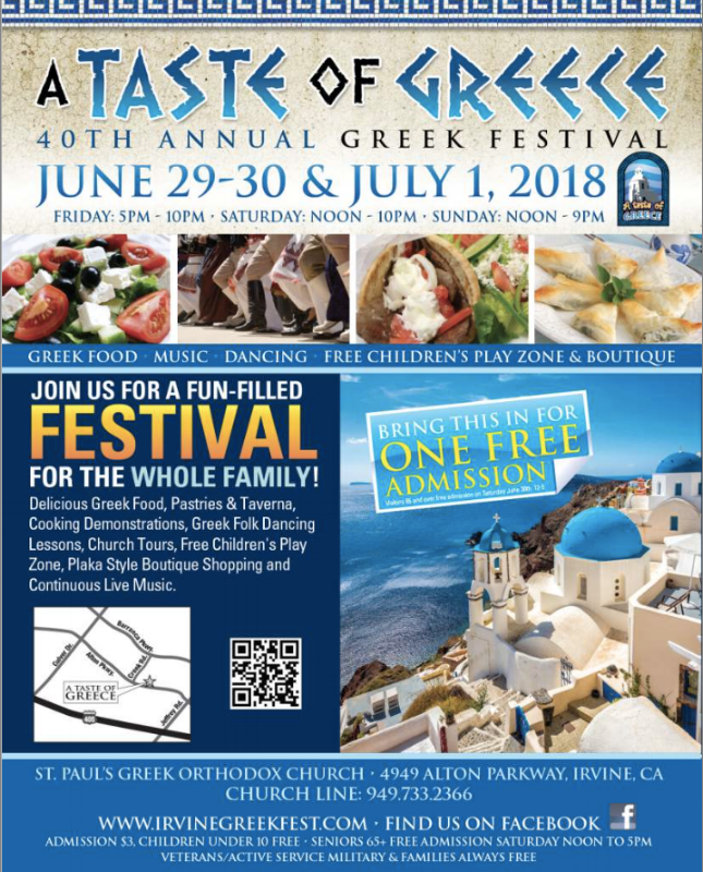 40thAnnual Greek Festival in Orange