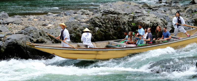 Ride the rapids on an exhilarating boat trip through the scenic beauty of the Hozugawa River.