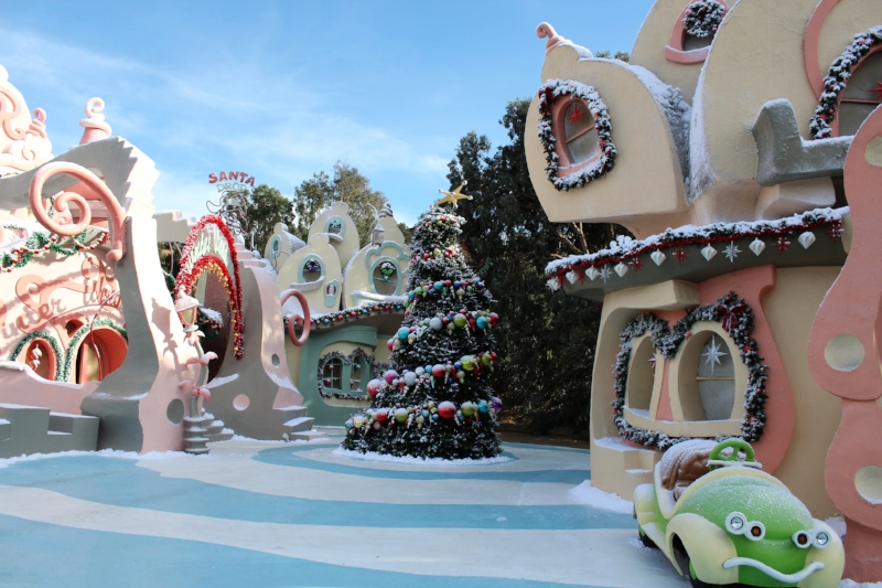 "How the Grinch Stole Christmas. The three Whoville buildings here were part of the ""Santa Drop"" sequence and were never meant to be permanent."