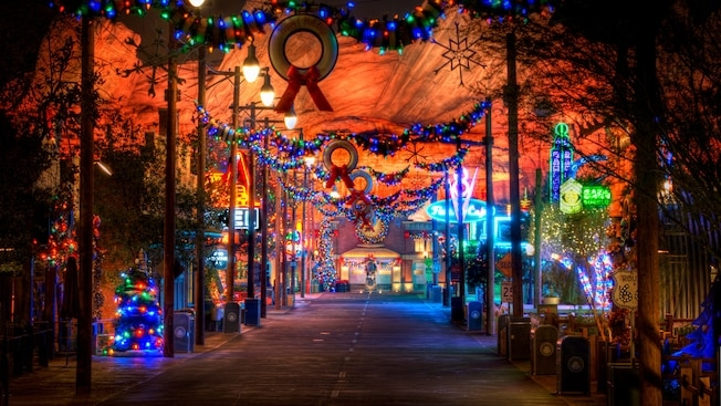 Carsland during the holidays photo credit :Disney Parks Blog