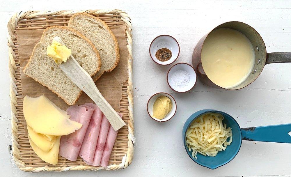 Dette trenger du for å lage Croque Monsieur hjemme. Foto: Familiematblogg