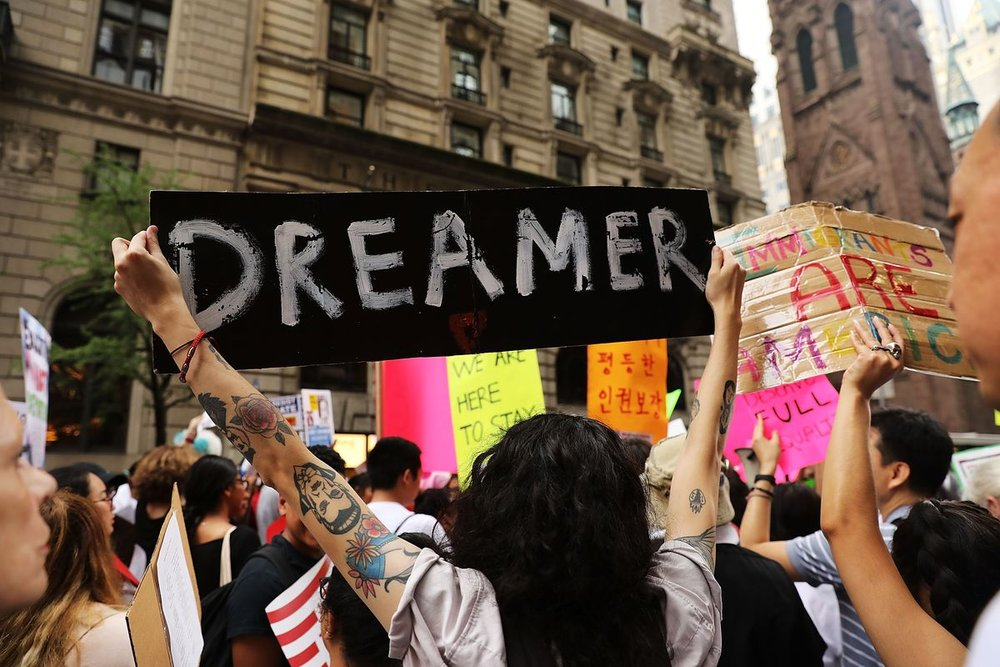 DACA advocates gather outside of Trump Tower on August 15, 2017 in New York City. / Spencer Platt/Getty Images