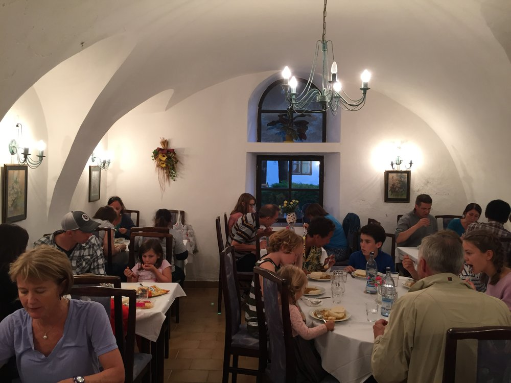 Dining at the Agape Centre, Svaty Jur