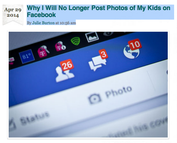Kveller article-No Longer Posting Photos of my Kids on Facebook