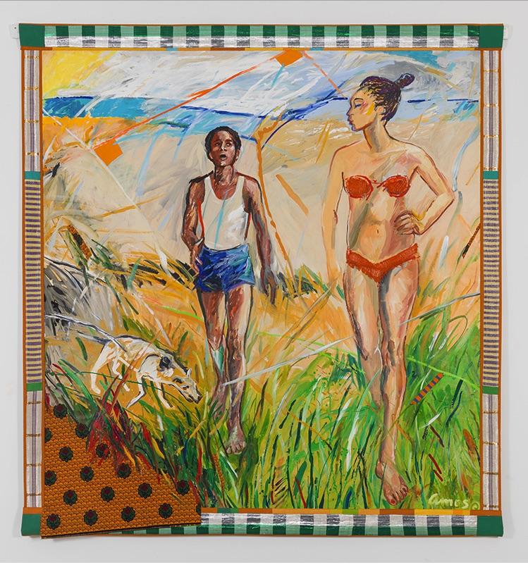 Emma Amos,  Why We Left the Beach , 1987 (Courtesy Ryan Lee Gallery)