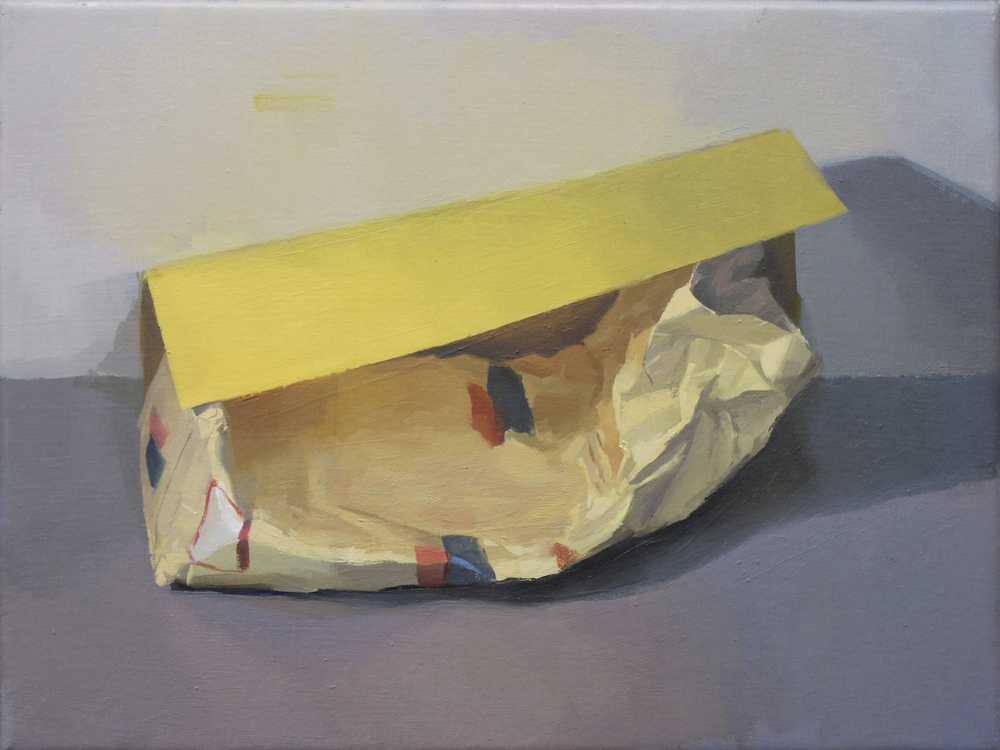 "yellow bag yellow paper   oil on canvas  12x16""  2012"