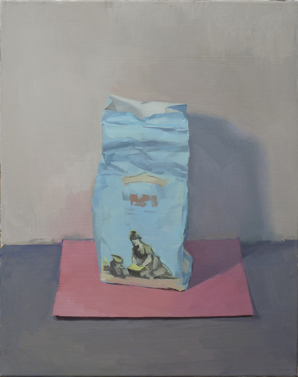 "blue bag pink paper   oil on canvas  16x20""  2012"