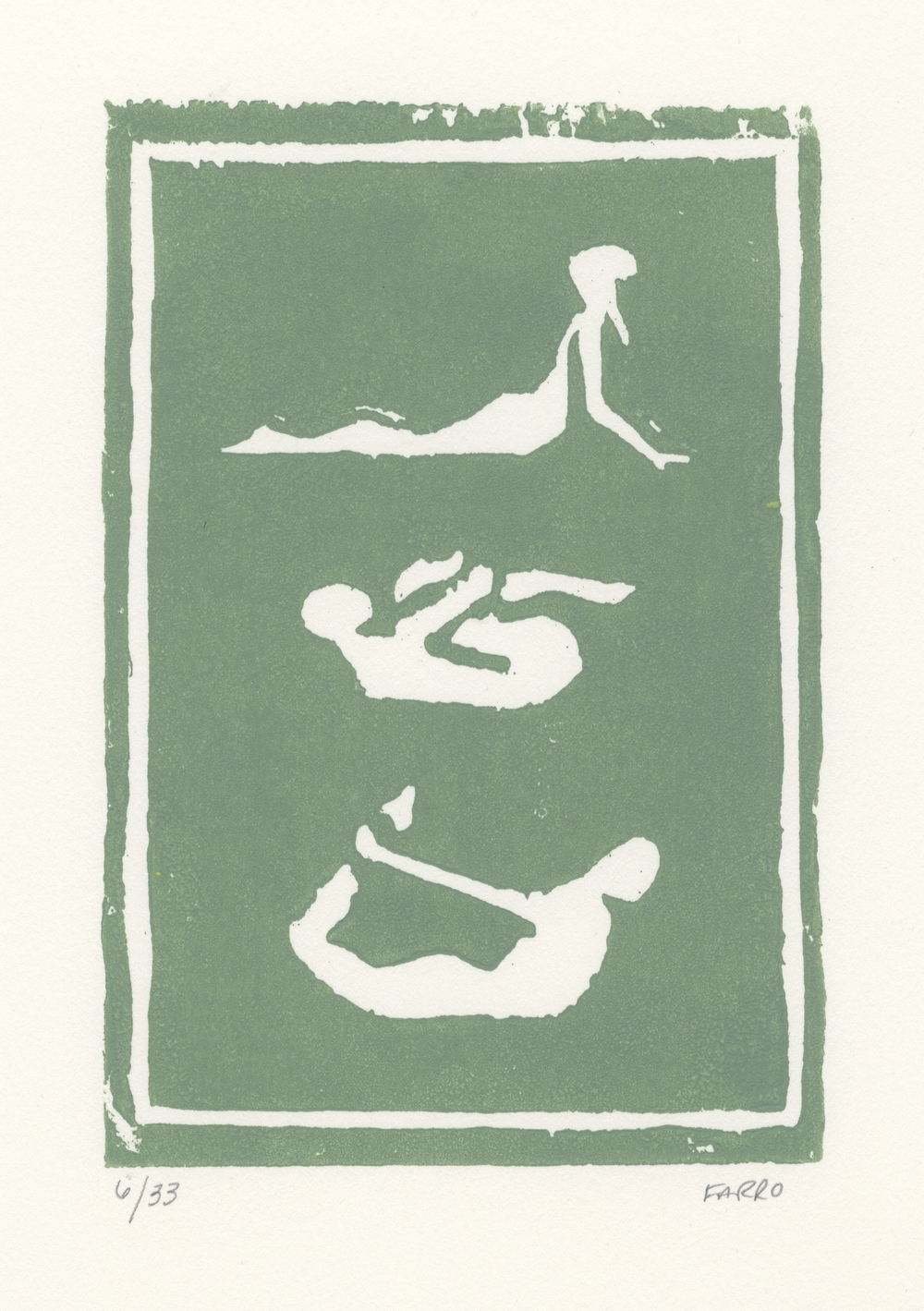 "yoga poses   woodblock print  edition of 33  5x7""  2012"