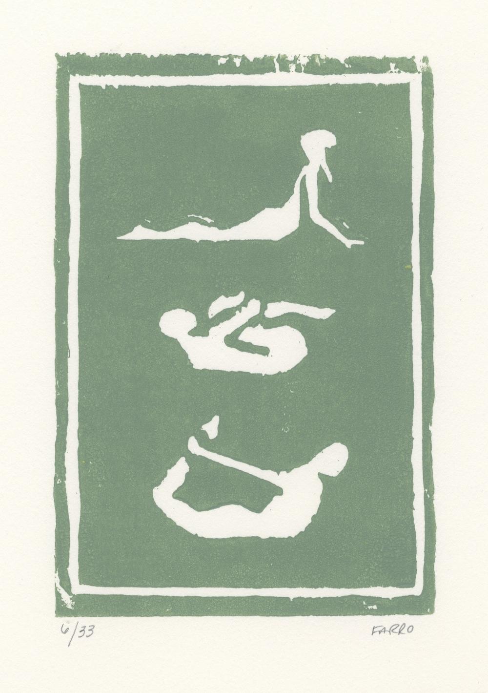 "yoga poses   woodblock print  edition of 33  5x7""  2012"
