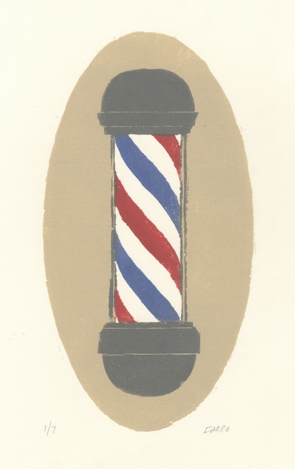 "barber pole   woodblock print  edition of 7  5.5x10.5""  2012"