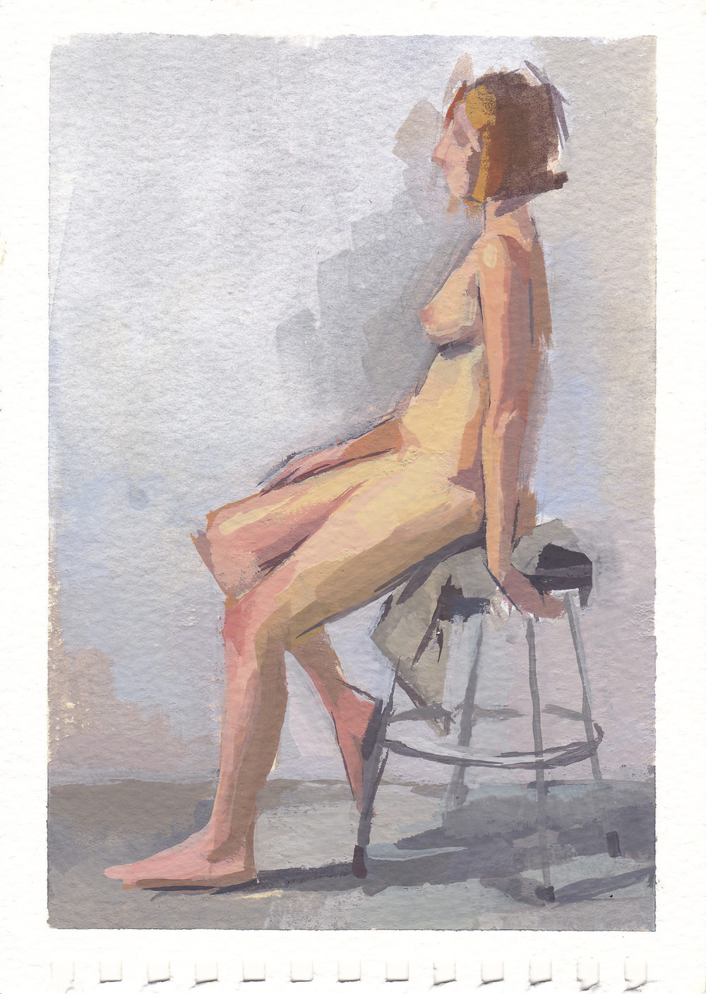 "nude figure   watercolor and gouache  4.25x6.25""   2012"
