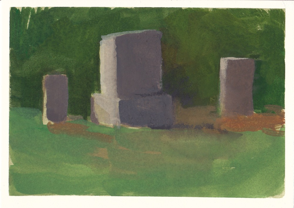 "cemetery   watercolor and gouache  4.5x6.5""  2012"