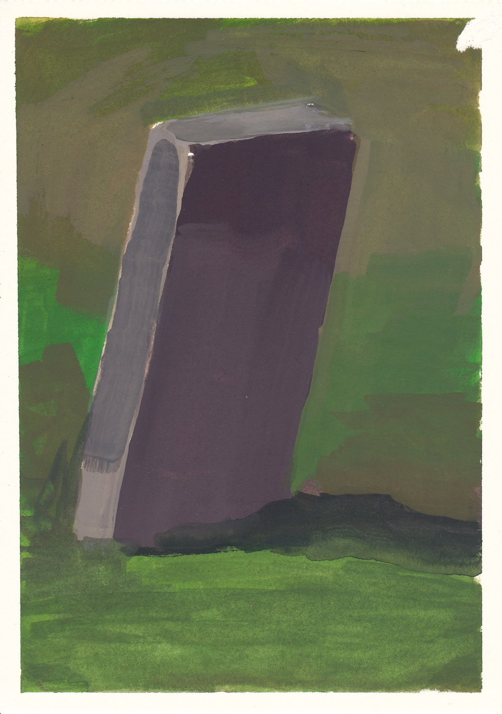 "a grave   watercolor and gouache  4.5x6.5""  2012"