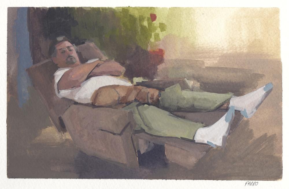 "Crocky  watercolor and gouache 8.5x5"" 2012  private collection Nashville, TN"