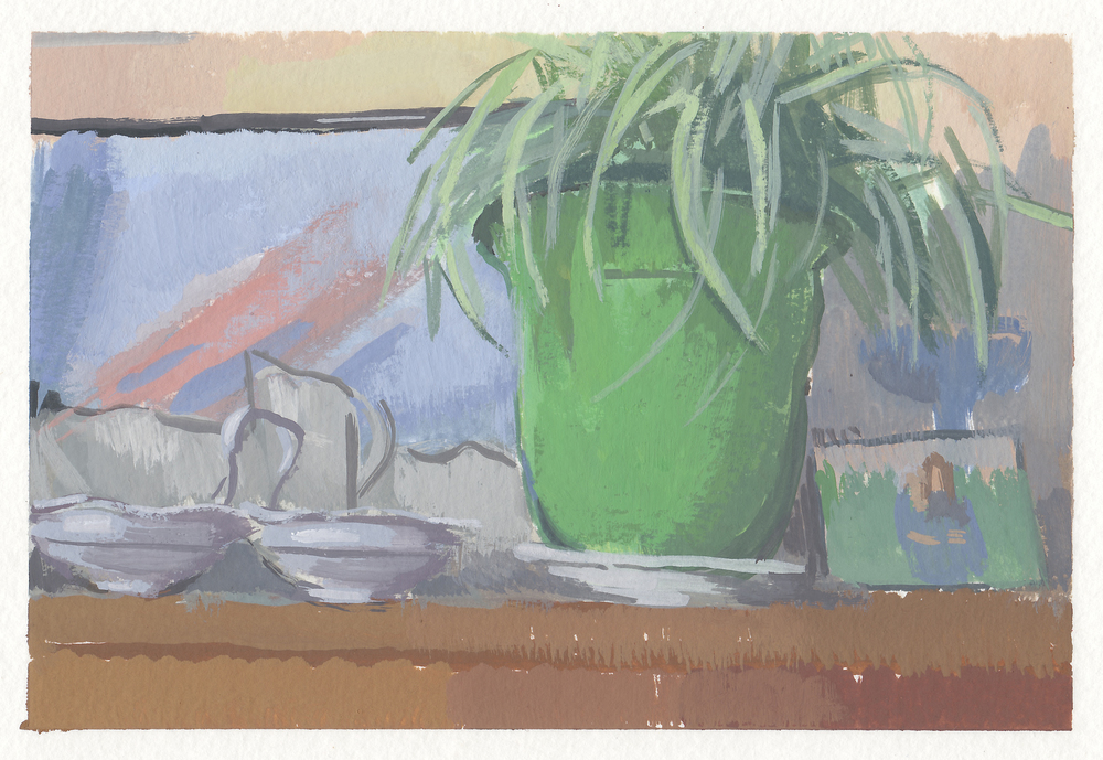 "the cat room   gouache  4x6""  2015"