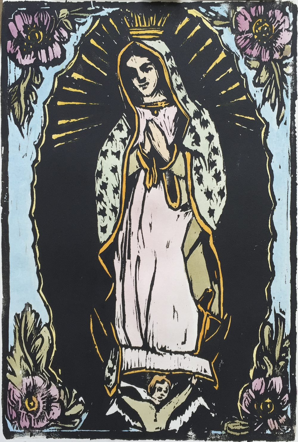 "Our Lady of Guadalupe   woodblock print with hand-coloring  unique edition  8x12""  2015"