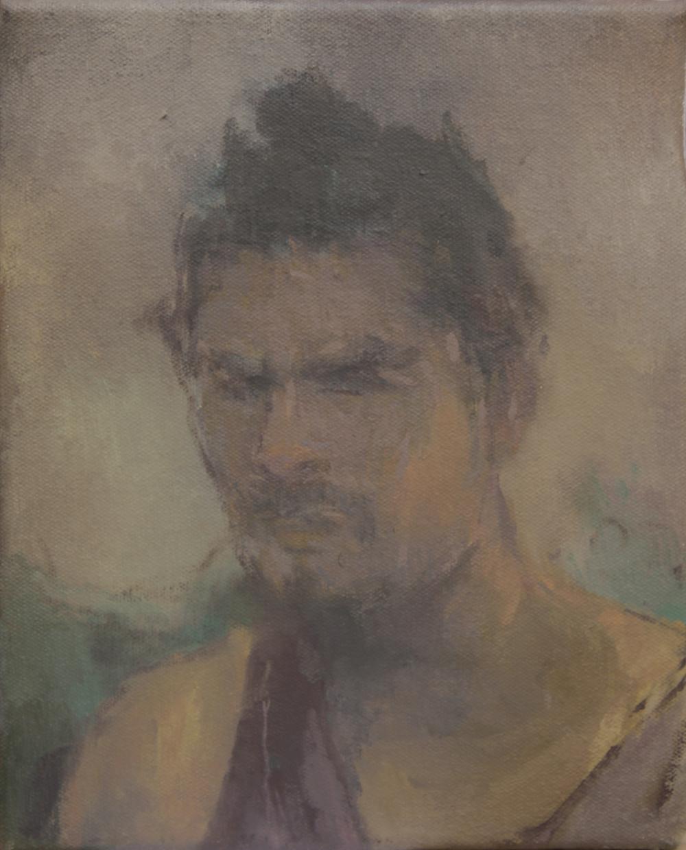 "good-looking samurai  oil on canvas 8x10"" 2015  private collection Nashville, TN"