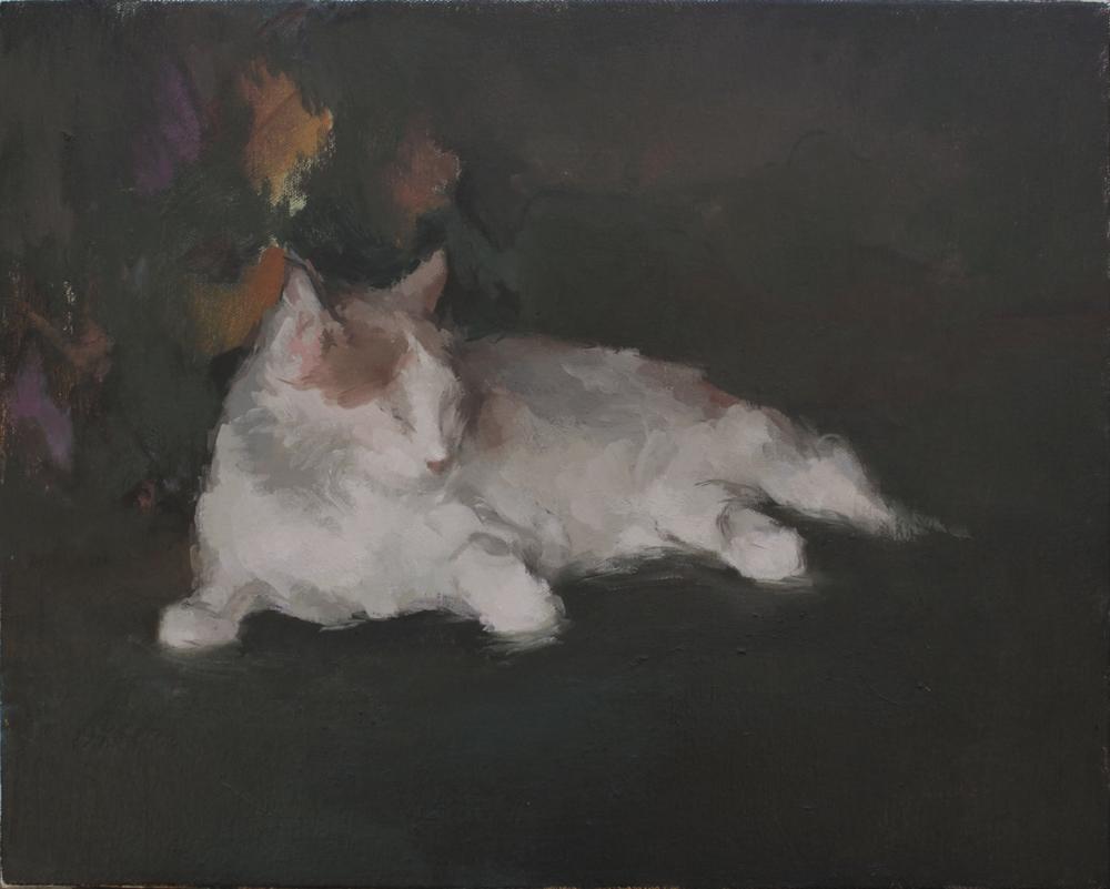 "Jack Bird's Cat  oil on canvas 14x18"" 2013  private collection Laguna Beach, CA"