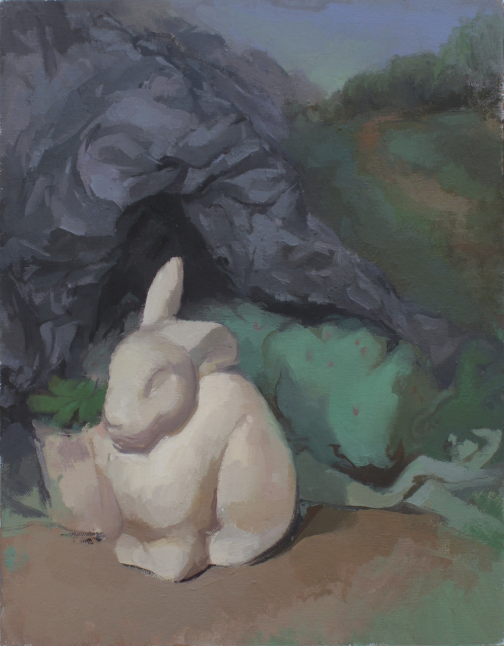 "bunny cave   oil on mounted canvas  10.5x13.5""  2013"
