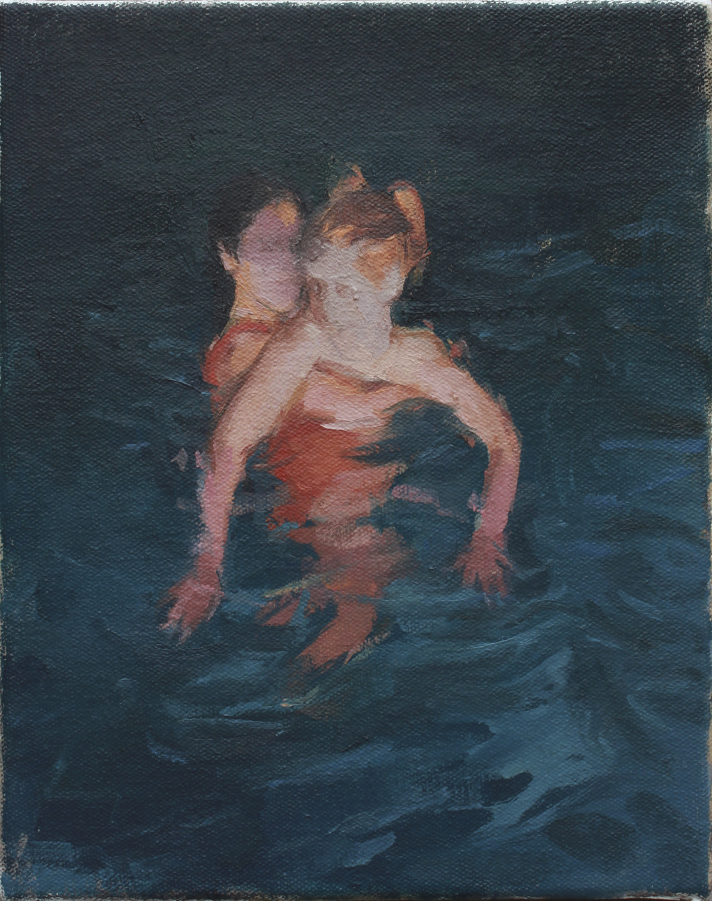 "swimmers   oil on canvas  8x10""  2013"