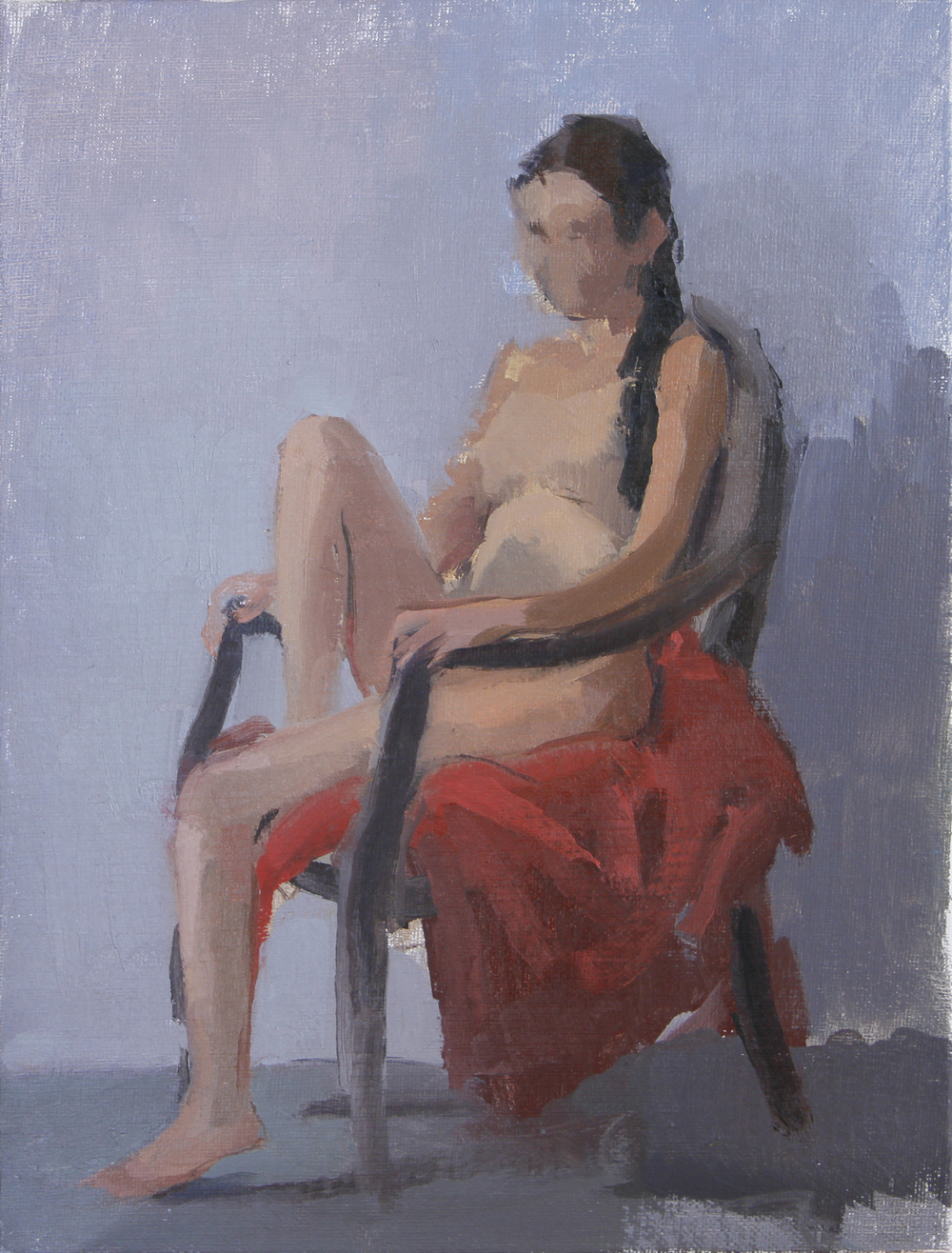 """seated nude  oil on canvas 8x10"""" 2013  private collection Brooklyn, NY"""