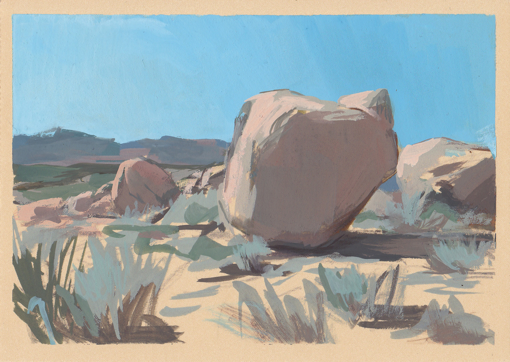 "Joshua Tree   gouache on paper  5x7""  2013"