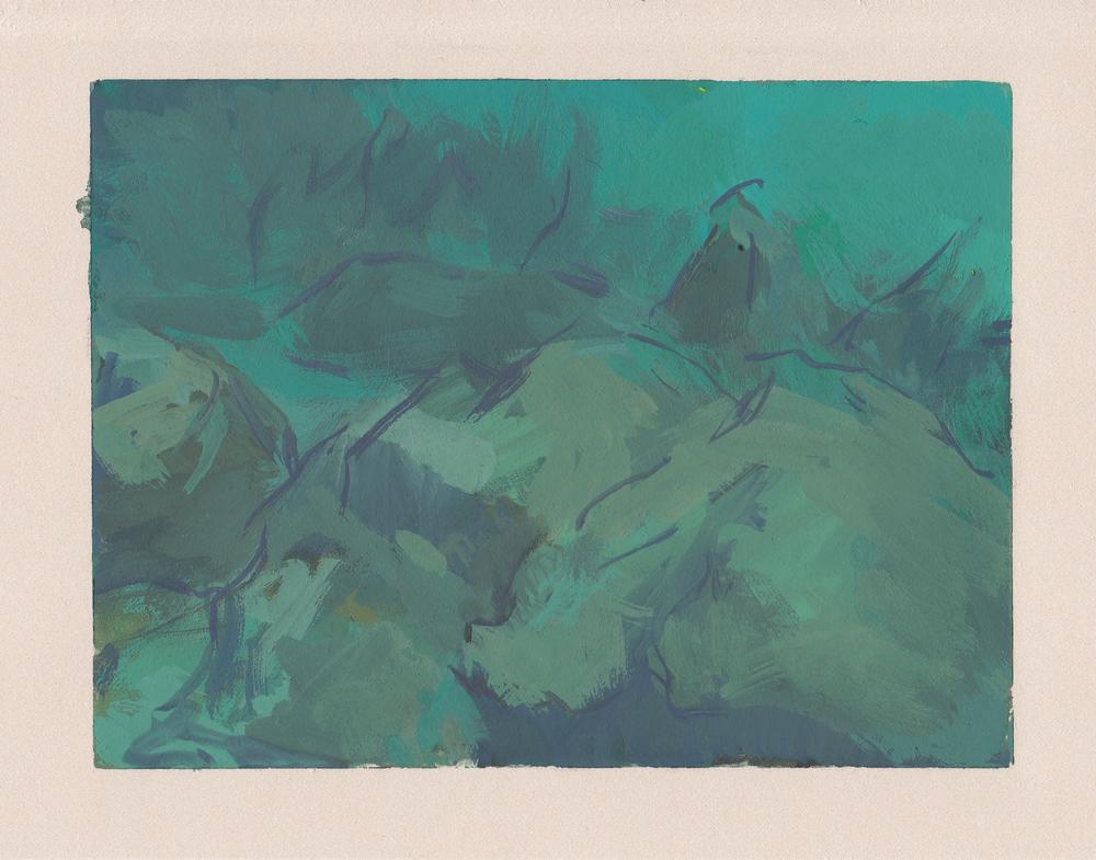"""seascape   gouache on paper  4x5.25""""  2013"""