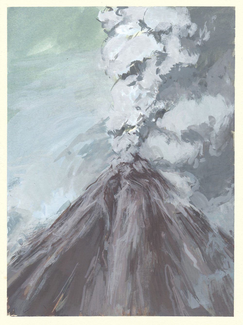 """my volcano   gouache on mounted paper  6.75x9.25""""  2013"""