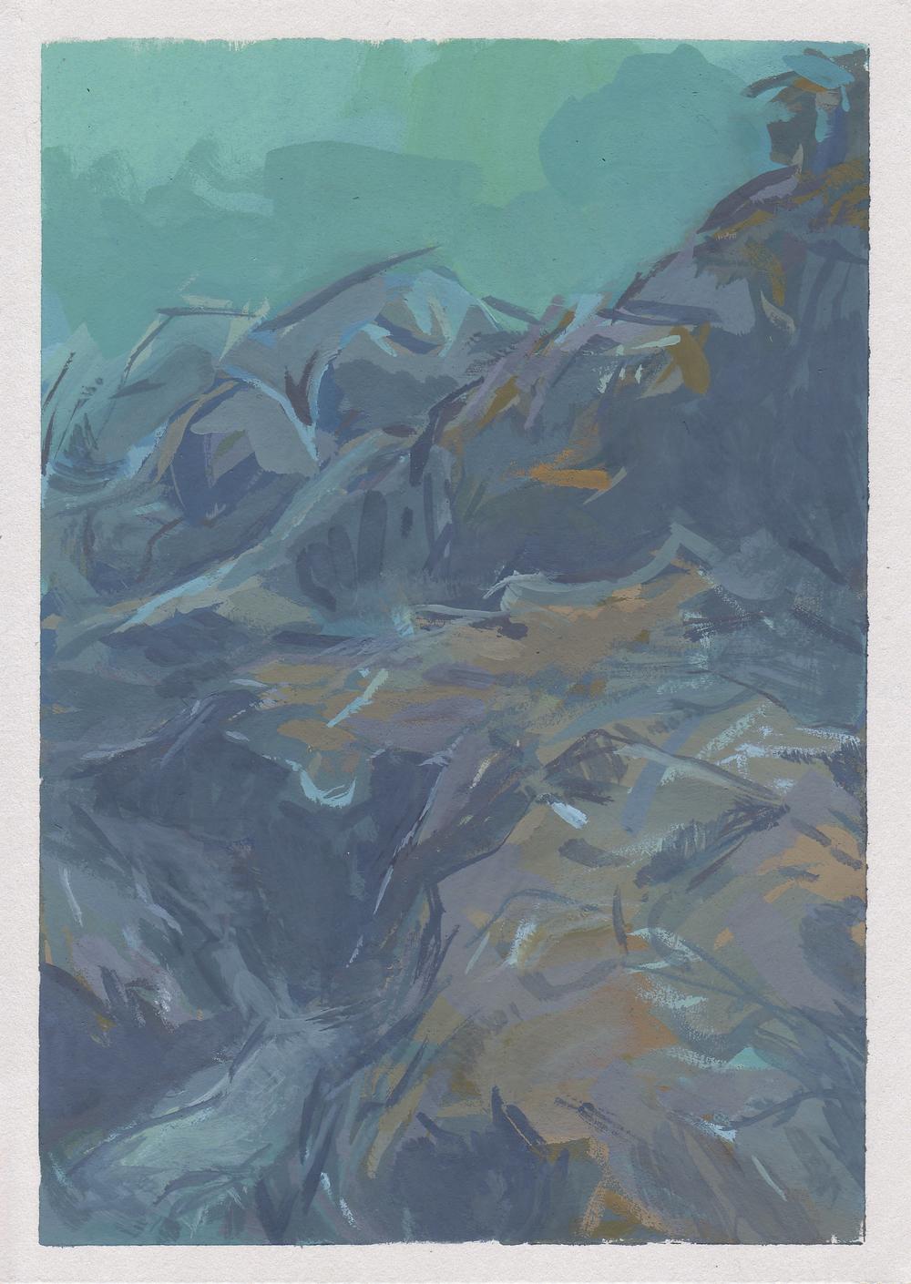 "seascape II   gouache on paper  4.5x6.5""  2013"