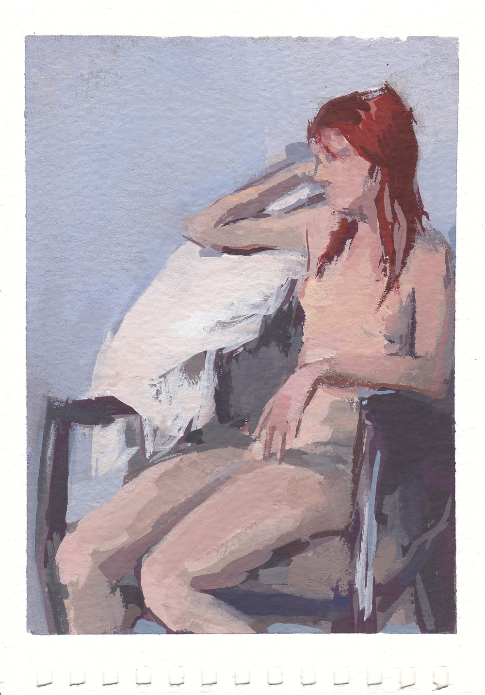 "seated nude   gouache on paper  4.25x6""  2013"