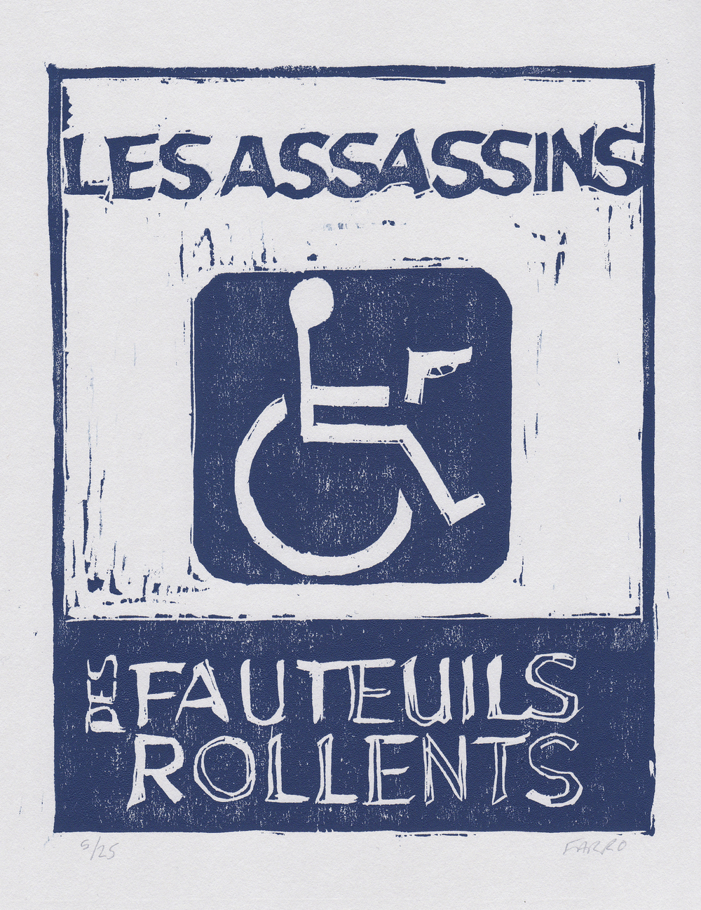 "Les Assassins des Fauteuils Rollents   woodblock print  edition of 25  6.25x8""  2013   purchase"