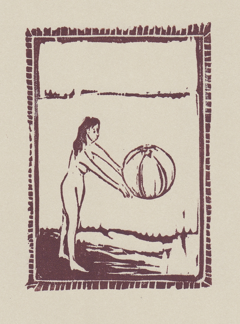 "beach ball   woodblock print  edition of 50  3x4.5""  2013"