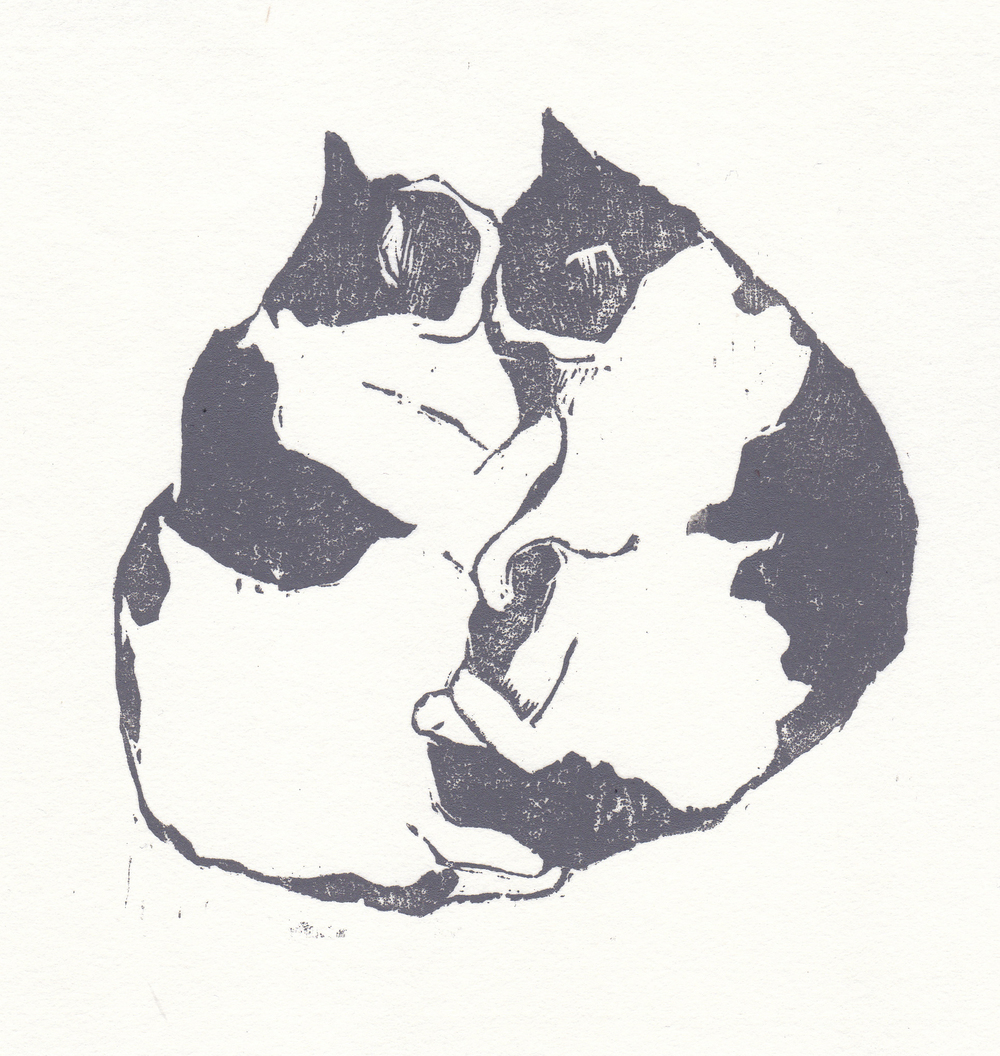 "kitties   woodblock print  edition of 30  5.25x5.25""  2013"